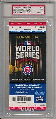 2016 Chicago Cubs World Series Game 4 Full Ticket PSA 9 Mint #1743 Wrigley Field