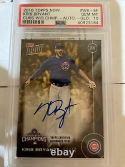 2016 Topps Now Chicago Cubs World Series Champs Kris Bryant WS-5F Auto Card 4/10