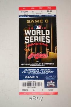 2016 World Series Game 6 Full Ticket Stub Chicago Cubs Vs Cleveland Indians