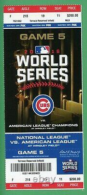 2016 World Series Ticket Game 5 Ticket Chicago Cubs Only Home Win Indians