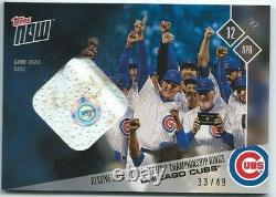 2017 Topps Now #40B Chicago Cubs World Series Ring Ceremony Base Relic #33/49