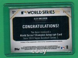 2018 Topps Series 1 Alex Bregman Auto World Series Red Parallel 5/25 Astros