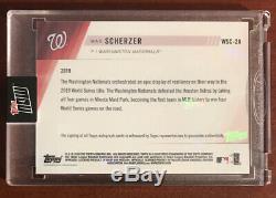 2019 TOPPS NOW WSC-2A MAX SCHERZER AUTO AUTOGRAPH 11/199 World Series Nationals