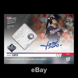 2019 Topps Now #1068A Juan Soto World Series Game 6 Game Used Auto Nationals /99