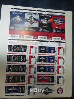 2019 WORLD SERIES Washington Nationals Full Ticket Stub Strip NLCS NLDS
