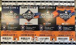 2019 World Series Ticket Stub 1,2,6,7 Washington Nationals vs Astros STRIP MINT