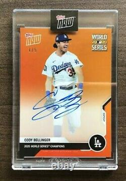 2020 Topps Now World Series Champions Cody Bellinger Auto Orange Parallel #1/5