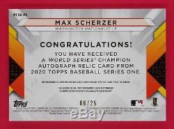 2020 Topps S1 Max Scherzer 06/25 World Series Champion Autograph Relics Red
