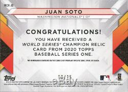 2020 Topps Series 1 JUAN SOTO WORLD SERIES CHAMPION RELIC Nationals RED 9/25