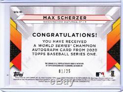 2020 Topps Series 1 MAX SCHERZER 2019 World Series RED AUTO 01/25! NATIONALS