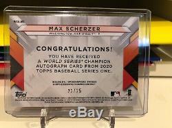 2020 Topps Series 1 MAX SCHERZER AUTO PATCH WORLD SERIES RED PARALLEL #22/25