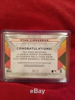 2020 Topps Series 1 Ryan Zimmerman World series Autograph Patch # 8/25 Sportcard