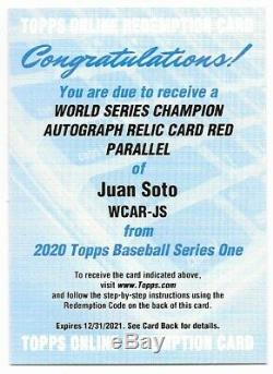 2020 Topps Series 1 World Series Champion Auto Relic Red Juan Soto #/25 WCAR-JS