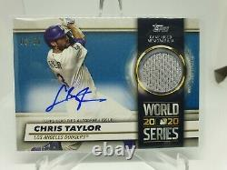 2021 Topps Series 1 Chris Taylor World Series Auto Relic Jersey Number 03/50 1/1