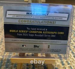 2021 Topps Series 1 Max Muncy World Series Patch Auto Relic Jersey Red SP /25