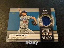 2021 Topps Series One Dustin May World Series Patch Relic Jersey 1/1 Dodgers SP