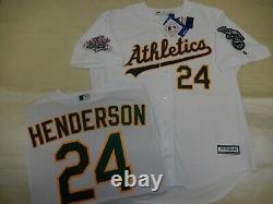 9927 Oakland A's RICKEY HENDERSON 1989 World Series Baseball JERSEY New WHITE