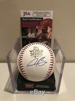 Alex Bregman Signed 2017 World Series Baseball Houston Astros MLB STAR JSA COA