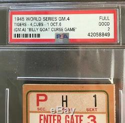 BILLY GOAT GAME 1945 World Series Ticket Chicago Cubs Detroit Tigers PSA
