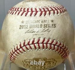 BUSTER POSEY GAME-USED 2012 WORLD SERIES GAME 2 BATTED BASEBALL GIANTS v TIGERS