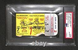 Bill Mazeroski SIGNED GAME 7 WALK OFF HR 1960 WORLD SERIES GAME 7 TICKET PSA