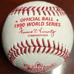 Billy Bates Autographed Rawlings Official 1990 World Series Baseball VERY RARE