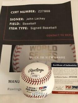 CHICAGO CUBS JOHN LACKEY signed 2016 WORLD SERIES OFFICIAL BASEBALL OML PSA JSA