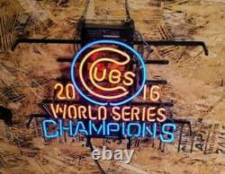 Chicago Cubs 2016 World Series Champions Baseball Neon Light Sign 20x16