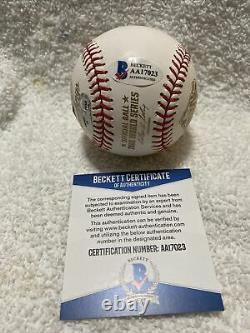Cole Hamels Signed Autographed 2008 World Series Baseball Phillies BECKETT & MLB