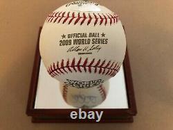 Derek Jeter Signed 2009 Mlb World Series Baseball Steiner Sports With Glass Case