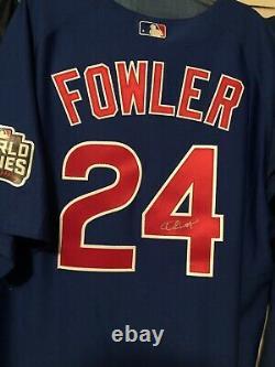 Dexter Fowler Signed 2016 World Series Jersey. SEE DESCRIPTION