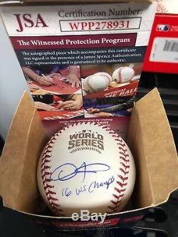 Dexter Fowler Signed 2016 World Series Official Baseball Inscription JSA