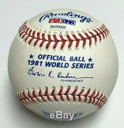 Fernando Valenzuela Signed 1981 World Series Baseball 81 WS Champs PSA 8A59005