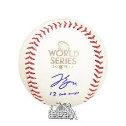 George Springer 17 WS MVP Autographed Official 2017 World Series Baseball BAS