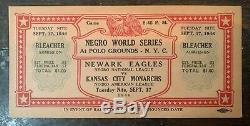 Gorgeous 1946 Negro League World Series Baseball Ticket Monarchs vs. Eagles