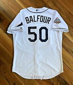 Grant Balfour 2008 World Series Tampa Bay Rays Game-Worn Jersey MLB Autograph