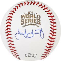 Jake Arrieta Chicago Cubs Signed 2016 MLB World Series Logo Baseball
