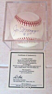 Joe Dimaggio No. 5 Signed 1994 World Series Baseball + Scoreboard Coa Nice