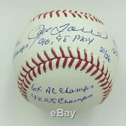 Joe Torre World Series Champs Signed Heavily Inscribed Stat Baseball Steiner COA