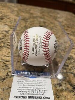 Jon Lester Signed Engraved 2016 World Series Baseball Cubs Beckett COA RARE 2