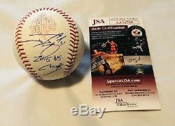 Jonny Gomes Signed 2015 World Series Baseball Kansas City Royals Auto+jsa Coa