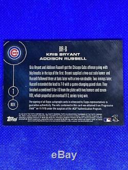 Kris Bryant Addison Russell Topps Now Auto World Series Game Used Base Cubs