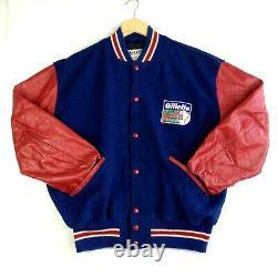 Mens USA MLB World Series 1993 Varsity Baseball Jacket Red Blue Size L
