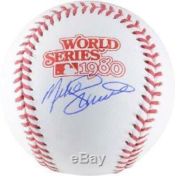 Mike Schmidt Philadelphia Phillies Signed 1980 World Series Logo Baseball