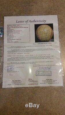 Milwaukee Braves 1957 World Series Champions Team Signed Baseball JSA FullLetter