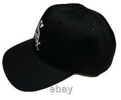 New Vintage 90s Chicago White Sox Plain Logo Black Dome Snapback Baseball Hat