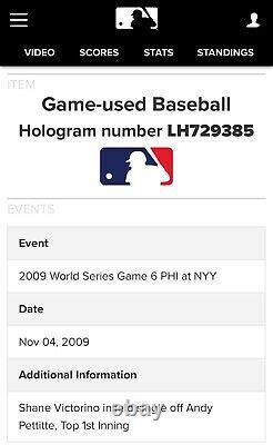 New York Yankees 2009 World Series Clinching Game 6 Game-Used Baseball Pettitte