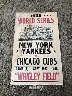 Original Genuine 1932 MLB World Series Yankees Cubs Baseball Poster Very Rare