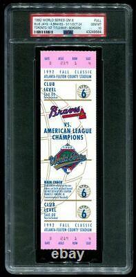 PSA Ticket Baseball 1992 World Series Toronto Blue Jays Gm 6 Full Clinch Mint 10