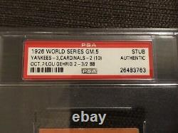 Psa 1926 World Series Ticket NY Yankees cardinals Gehrig Ruth Alexander Hornsby